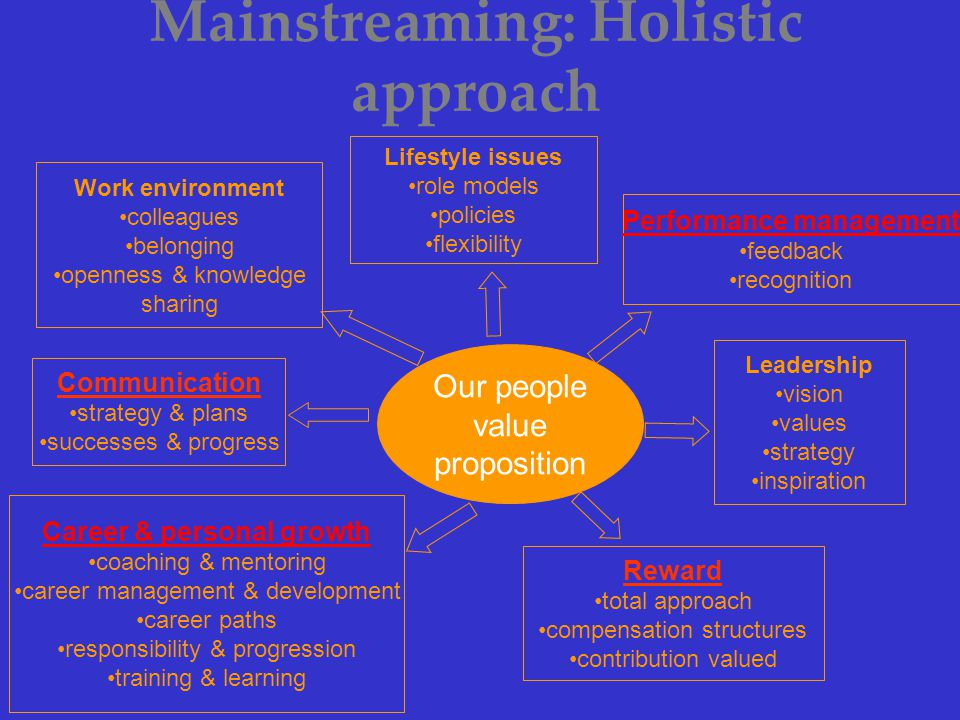 Mainstreaming: Holistic approach