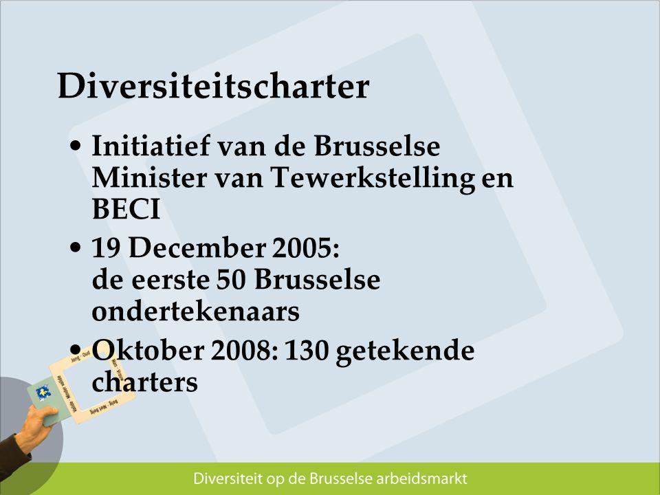 Diversiteitscharter Initiatief van de Brusselse Minister van Tewerkstelling en BECI. 19 December 2005: de eerste 50 Brusselse ondertekenaars.