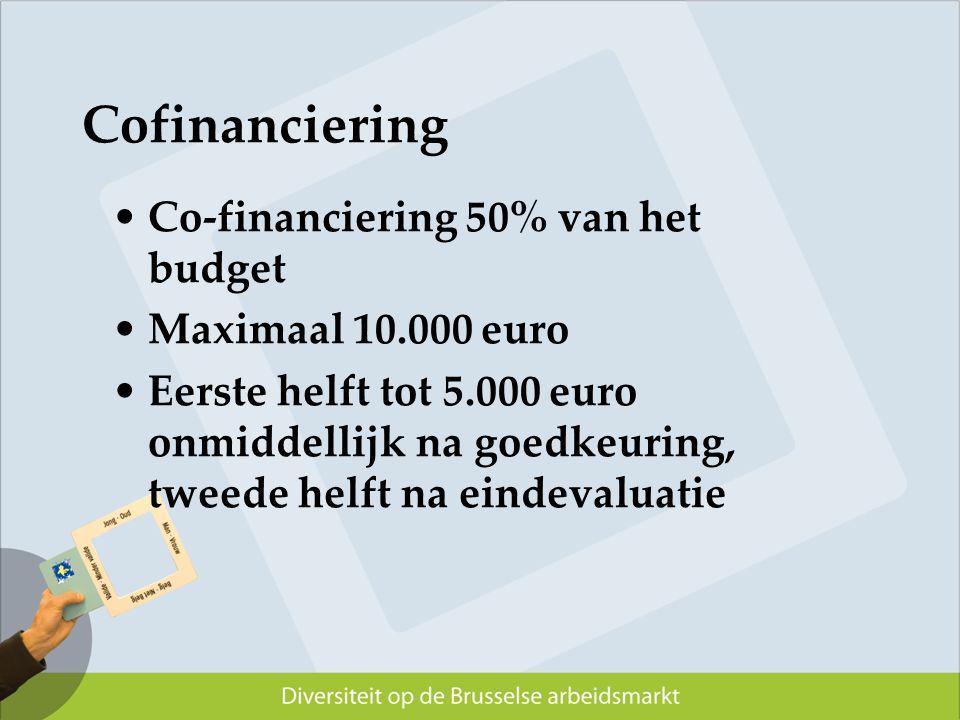 Cofinanciering Co-financiering 50% van het budget Maximaal 10.000 euro