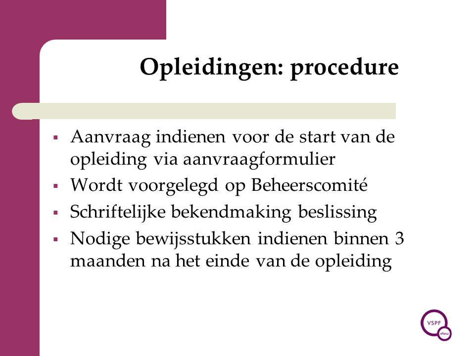 Opleidingen: procedure