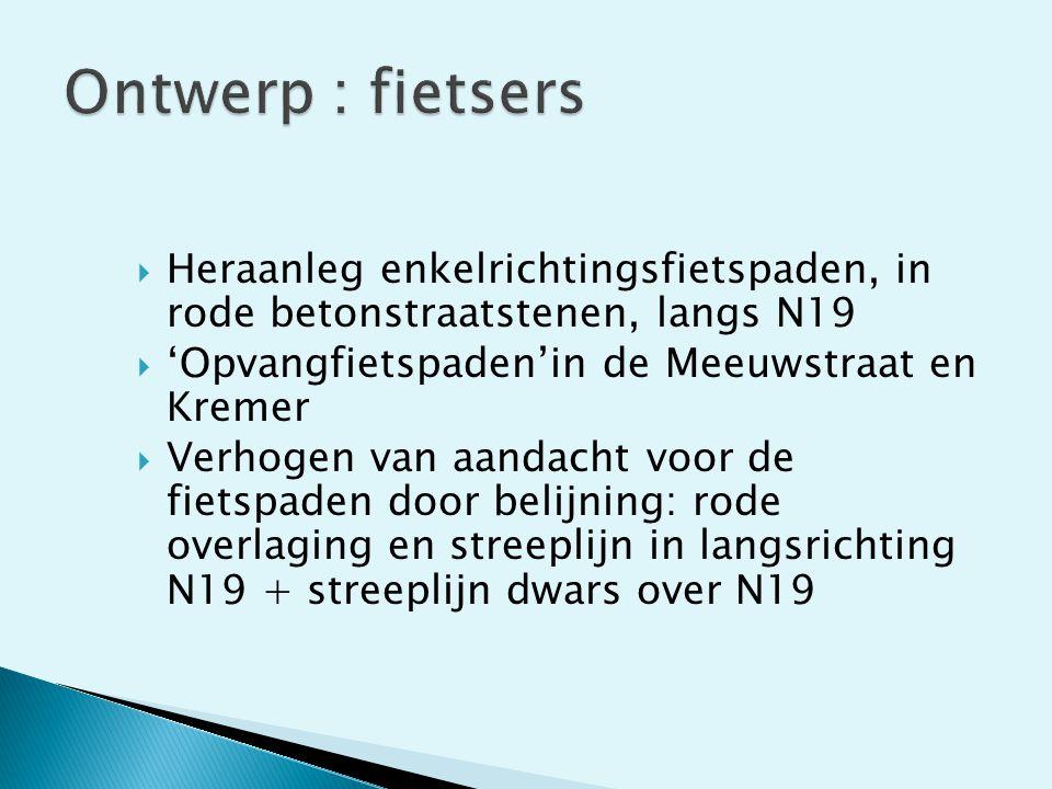Ontwerp : fietsers Heraanleg enkelrichtingsfietspaden, in rode betonstraatstenen, langs N19. 'Opvangfietspaden'in de Meeuwstraat en Kremer.