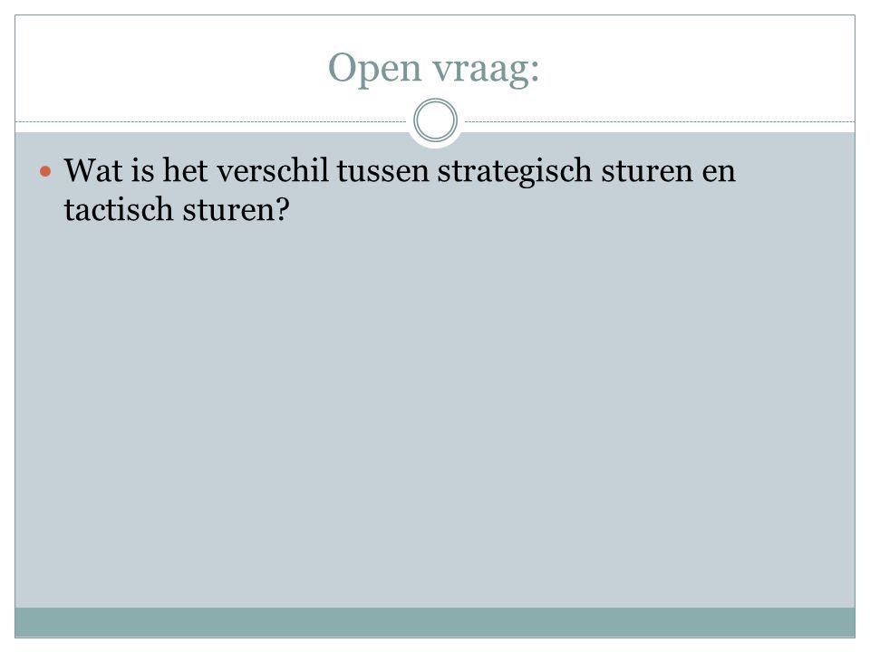 Open vraag: Wat is het verschil tussen strategisch sturen en tactisch sturen