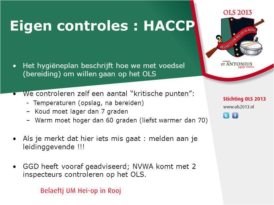 Eigen controles : HACCP