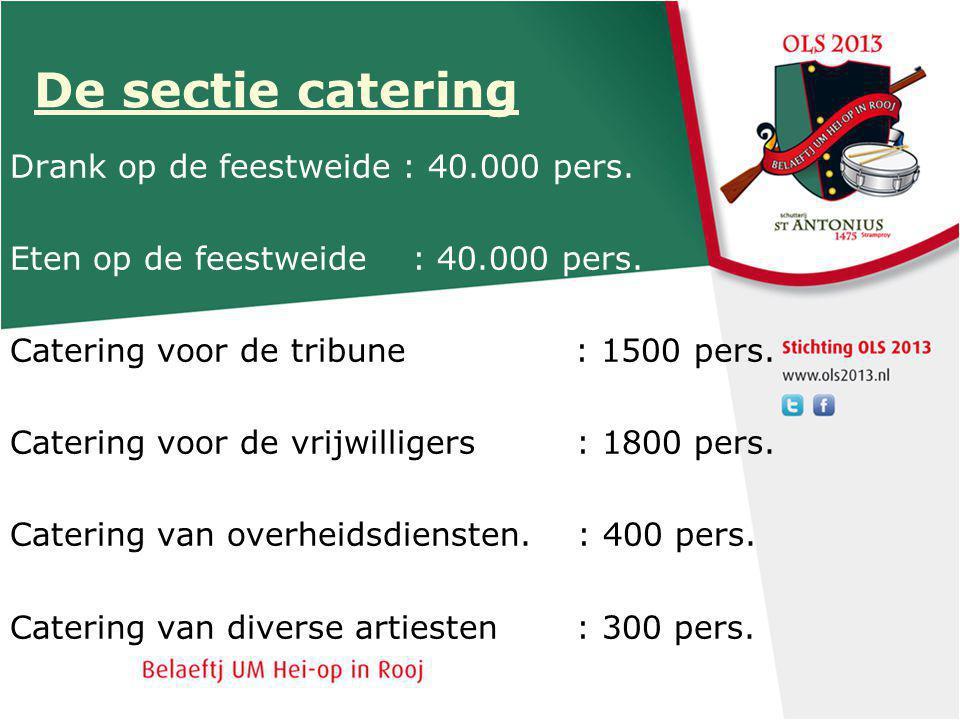 De sectie catering Drank op de feestweide : 40.000 pers.