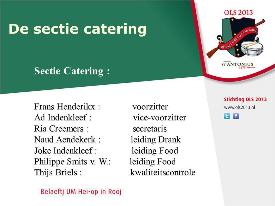De sectie catering Sectie Catering : Frans Henderikx : voorzitter