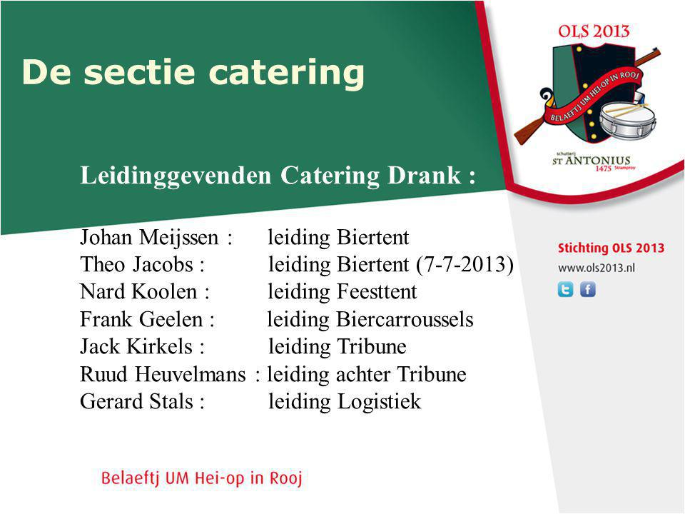De sectie catering Leidinggevenden Catering Drank :