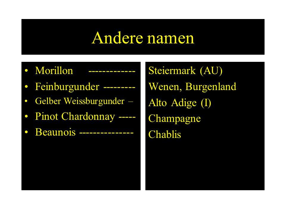 Andere namen Morillon ------------- Feinburgunder ---------