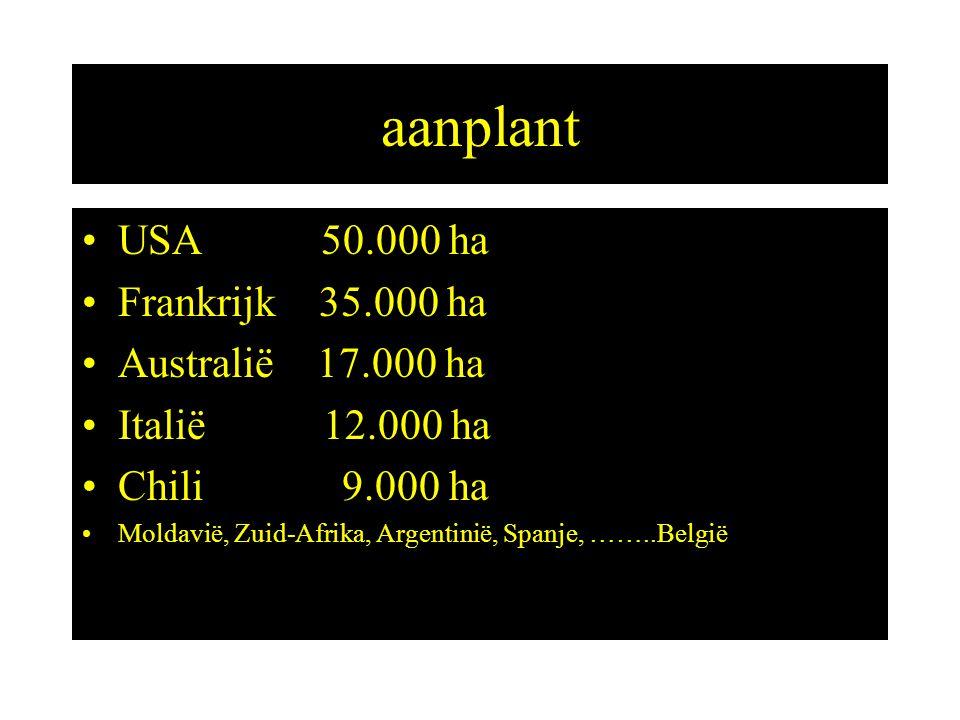 aanplant USA 50.000 ha Frankrijk 35.000 ha Australië 17.000 ha