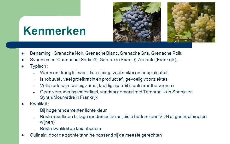 Kenmerken Benaming : Grenache Noir, Grenache Blanc, Grenache Gris, Grenache Poilu.