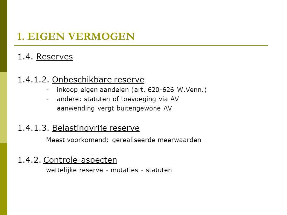 1. EIGEN VERMOGEN 1.4. Reserves 1.4.1.2. Onbeschikbare reserve