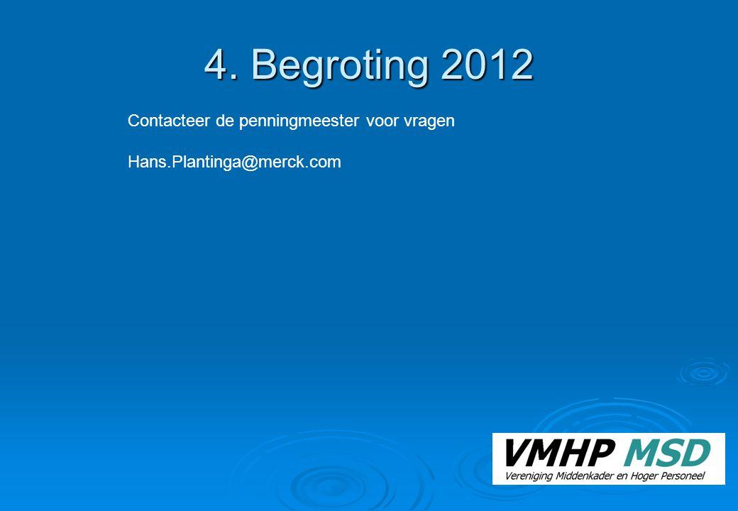 4. Begroting 2012 Contacteer de penningmeester voor vragen