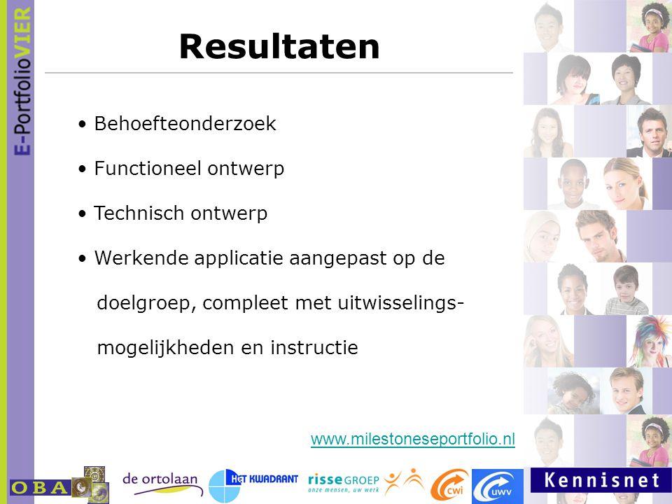 Resultaten Behoefteonderzoek Functioneel ontwerp Technisch ontwerp