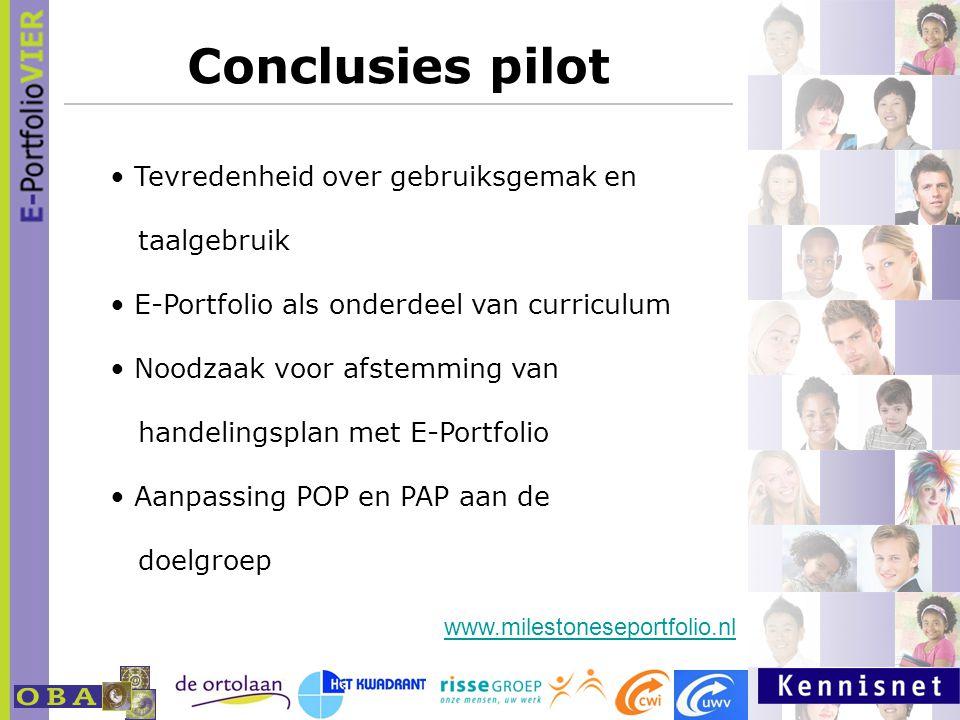 Conclusies pilot Tevredenheid over gebruiksgemak en taalgebruik