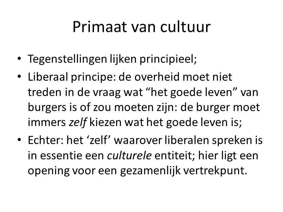 Primaat van cultuur Tegenstellingen lijken principieel;