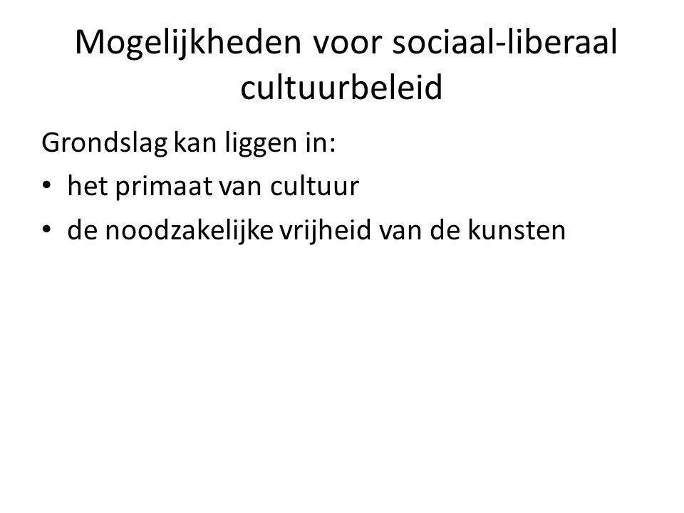 Mogelijkheden voor sociaal-liberaal cultuurbeleid