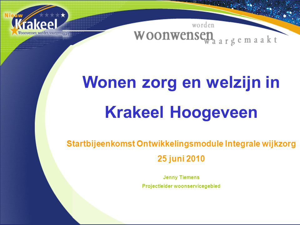 Wonen zorg en welzijn in Krakeel Hoogeveen