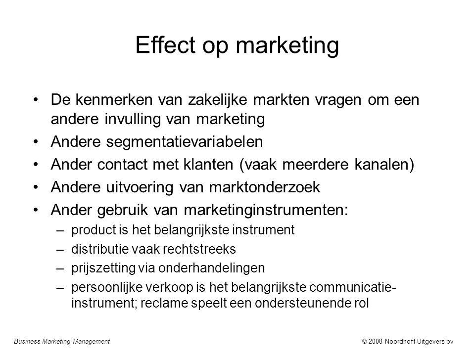 Effect op marketing De kenmerken van zakelijke markten vragen om een andere invulling van marketing.
