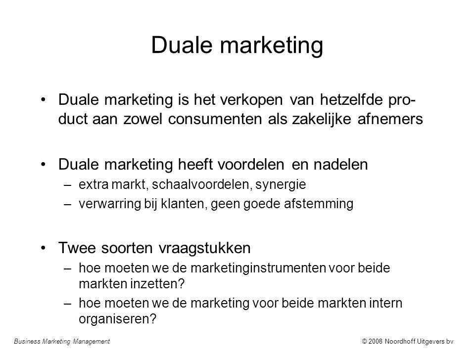 Duale marketing Duale marketing is het verkopen van hetzelfde pro-duct aan zowel consumenten als zakelijke afnemers.