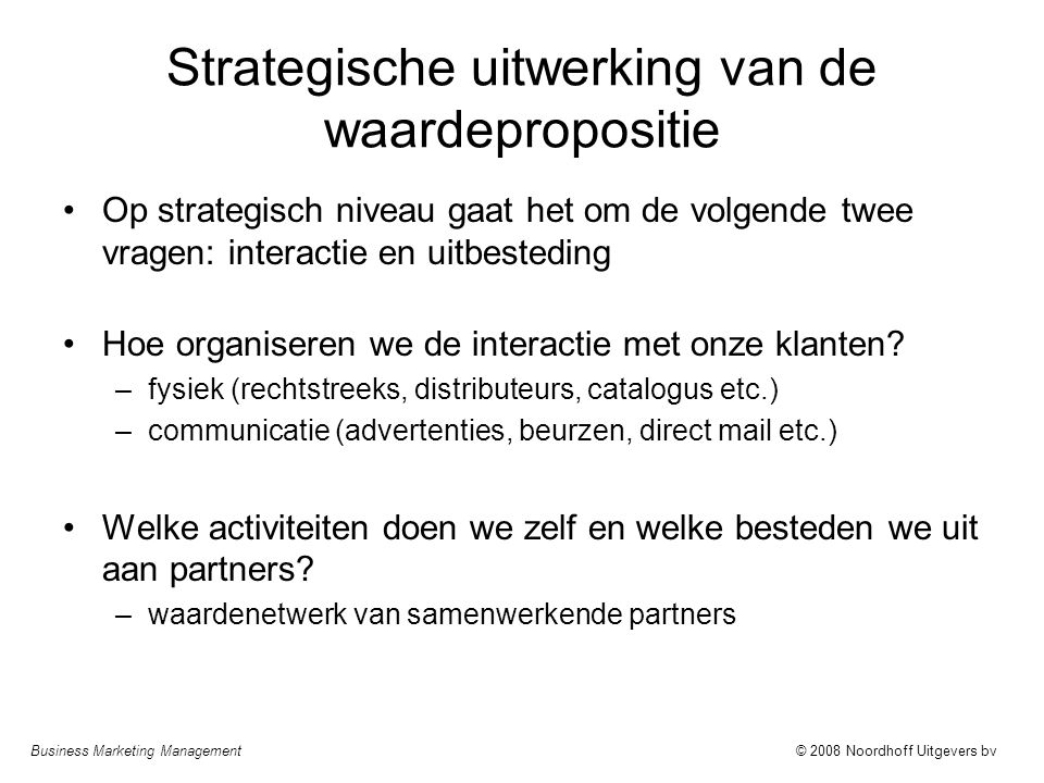 Strategische uitwerking van de waardepropositie