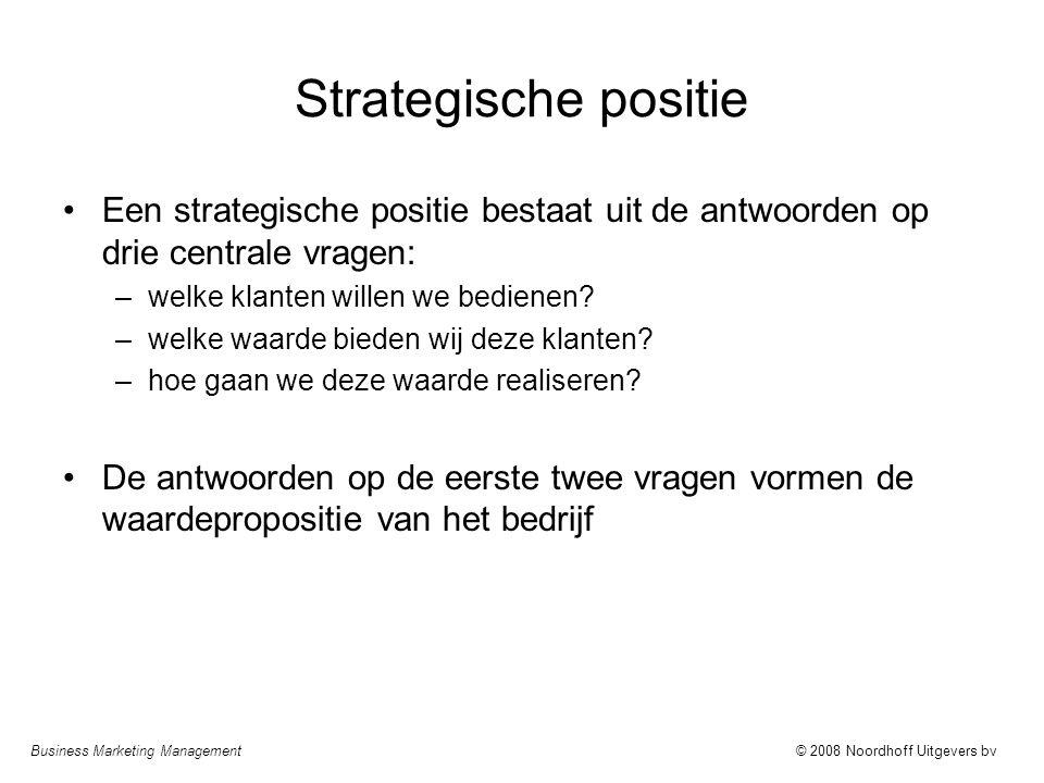 Strategische positie Een strategische positie bestaat uit de antwoorden op drie centrale vragen: welke klanten willen we bedienen