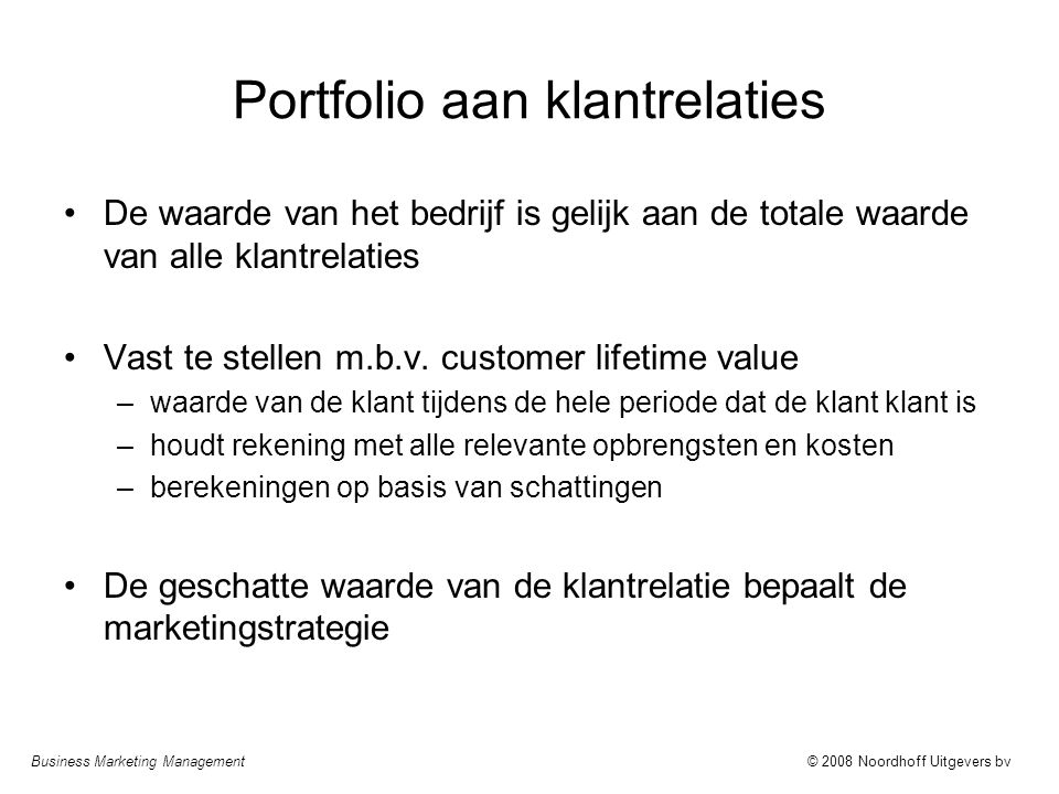 Portfolio aan klantrelaties