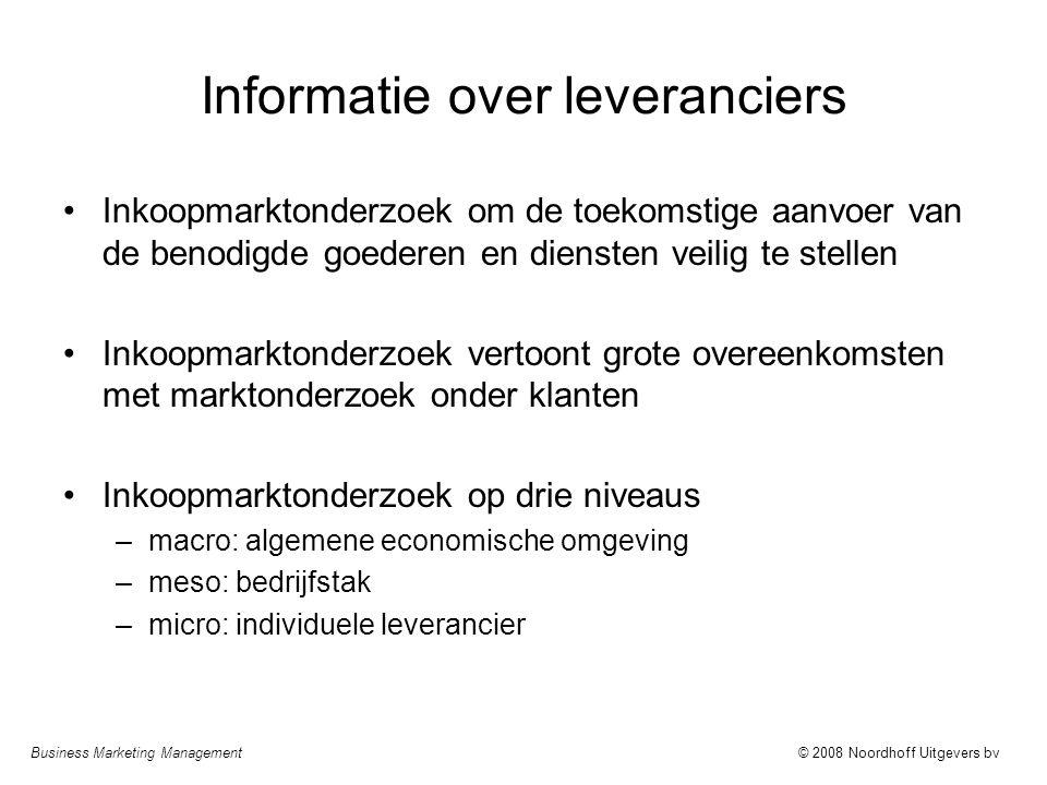 Informatie over leveranciers