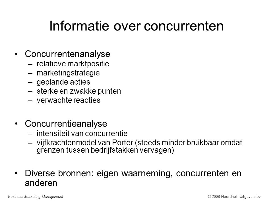 Informatie over concurrenten