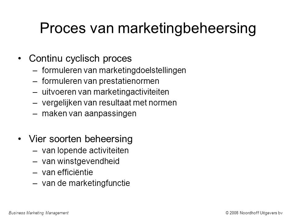 Proces van marketingbeheersing