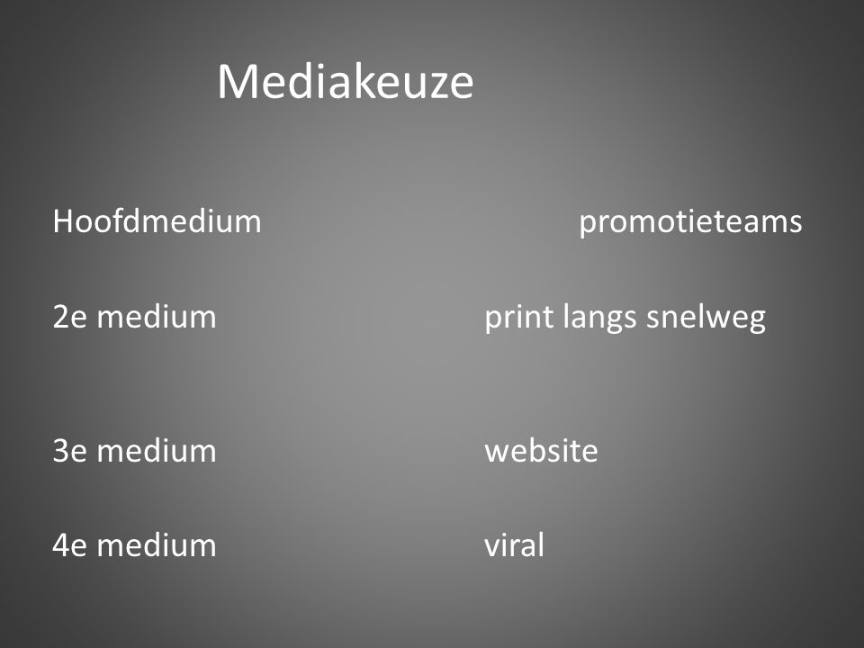 Mediakeuze Hoofdmedium promotieteams 2e medium print langs snelweg 3e medium website 4e medium viral