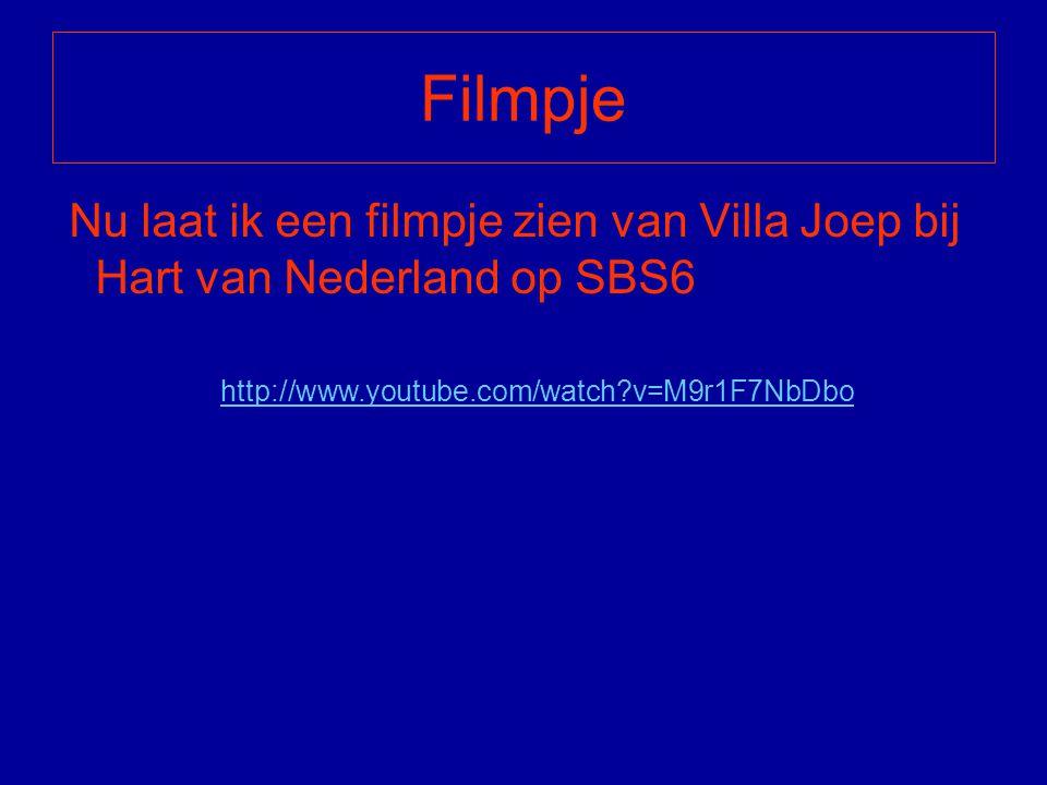 Filmpje Nu laat ik een filmpje zien van Villa Joep bij Hart van Nederland op SBS6.