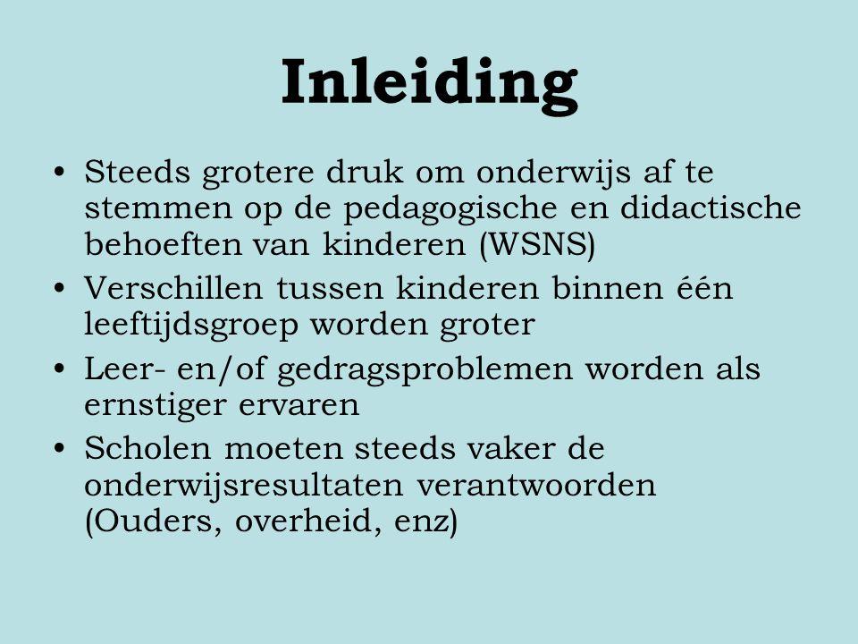 Inleiding Steeds grotere druk om onderwijs af te stemmen op de pedagogische en didactische behoeften van kinderen (WSNS)