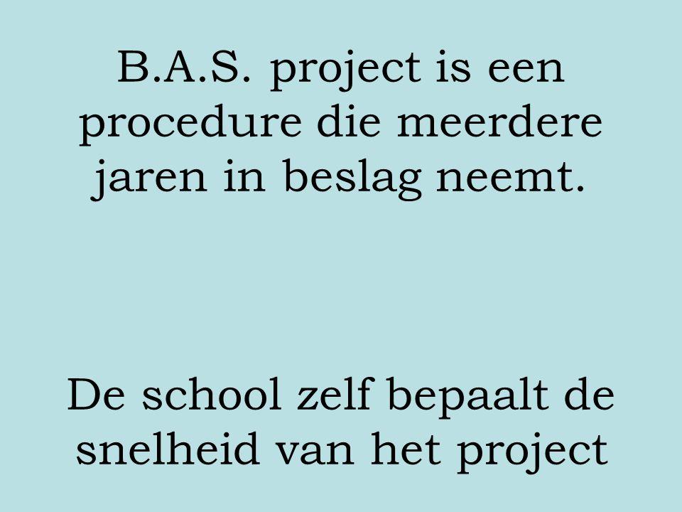 B. A. S. project is een procedure die meerdere jaren in beslag neemt