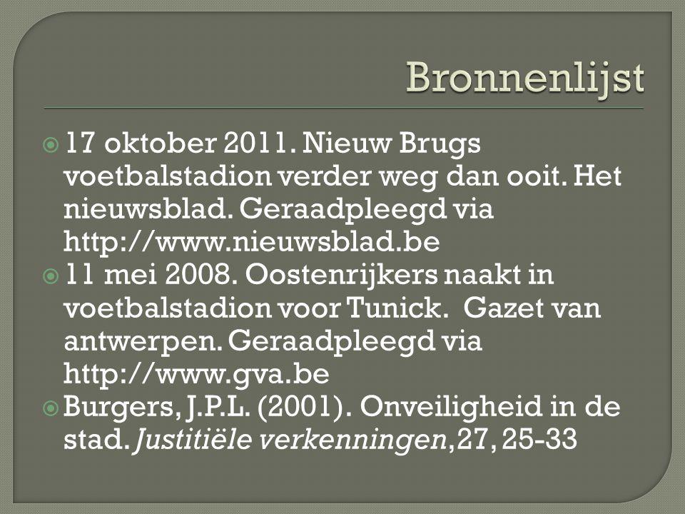 Bronnenlijst 17 oktober 2011. Nieuw Brugs voetbalstadion verder weg dan ooit. Het nieuwsblad. Geraadpleegd via http://www.nieuwsblad.be.