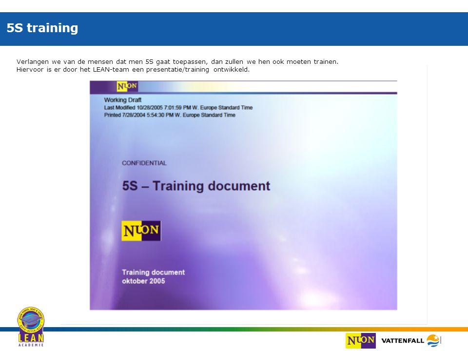 5S training Verlangen we van de mensen dat men 5S gaat toepassen, dan zullen we hen ook moeten trainen.
