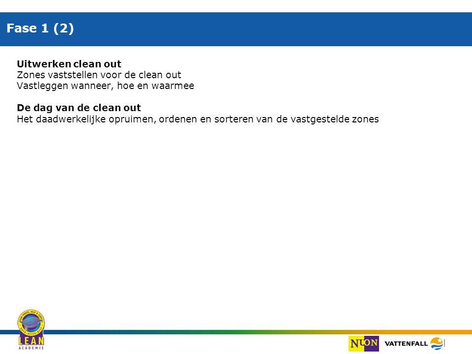 Fase 1 (2) Uitwerken clean out Zones vaststellen voor de clean out