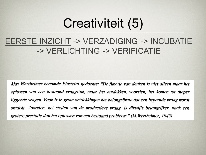 Creativiteit (5) EERSTE INZICHT -> VERZADIGING -> INCUBATIE -> VERLICHTING -> VERIFICATIE