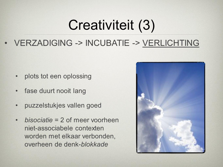 Creativiteit (3) VERZADIGING -> INCUBATIE -> VERLICHTING