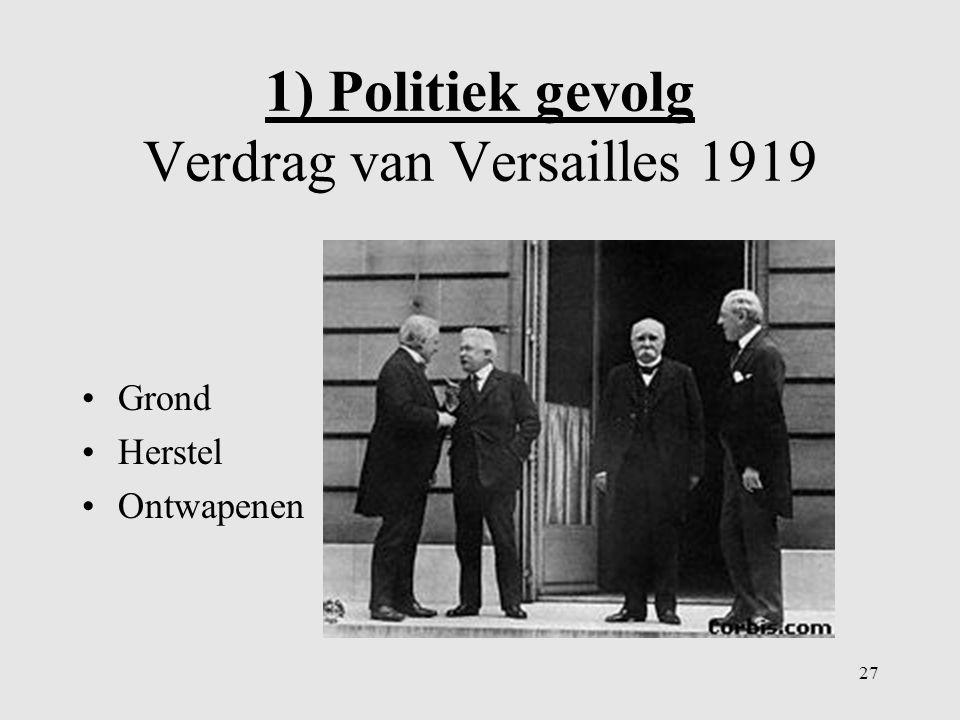 1) Politiek gevolg Verdrag van Versailles 1919