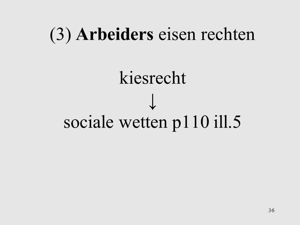 (3) Arbeiders eisen rechten kiesrecht ↓ sociale wetten p110 ill.5