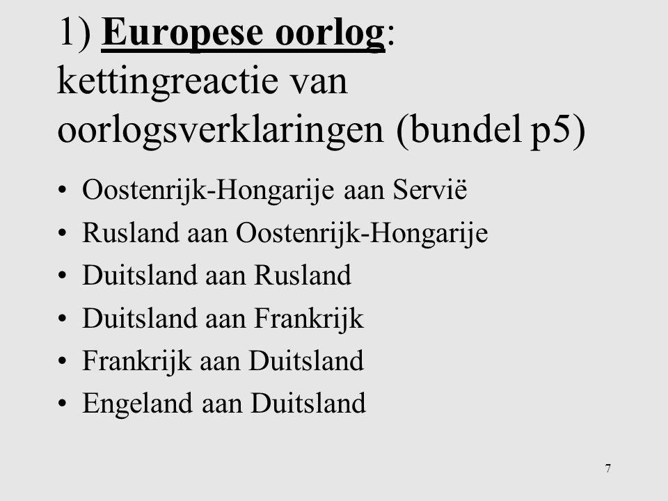 1) Europese oorlog: kettingreactie van oorlogsverklaringen (bundel p5)