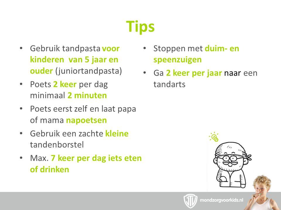Tips Gebruik tandpasta voor kinderen van 5 jaar en ouder (juniortandpasta) Stoppen met duim- en speenzuigen.