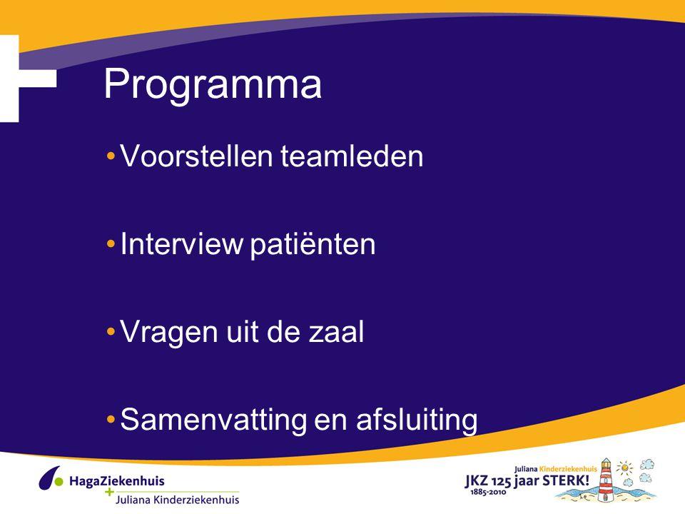 Programma Voorstellen teamleden Interview patiënten Vragen uit de zaal