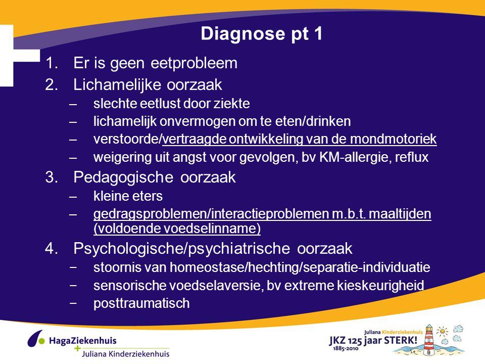 Diagnose pt 1 Er is geen eetprobleem Lichamelijke oorzaak