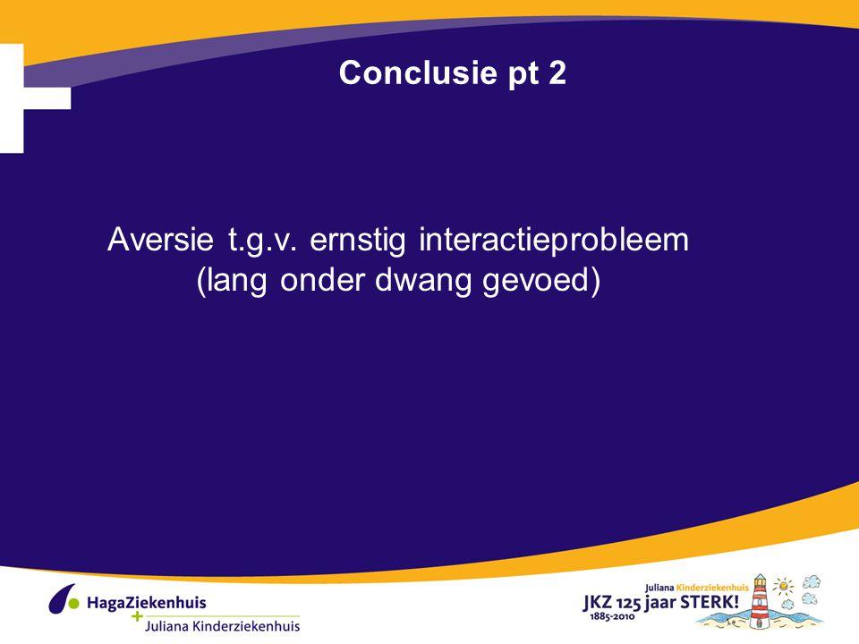 Aversie t.g.v. ernstig interactieprobleem (lang onder dwang gevoed)