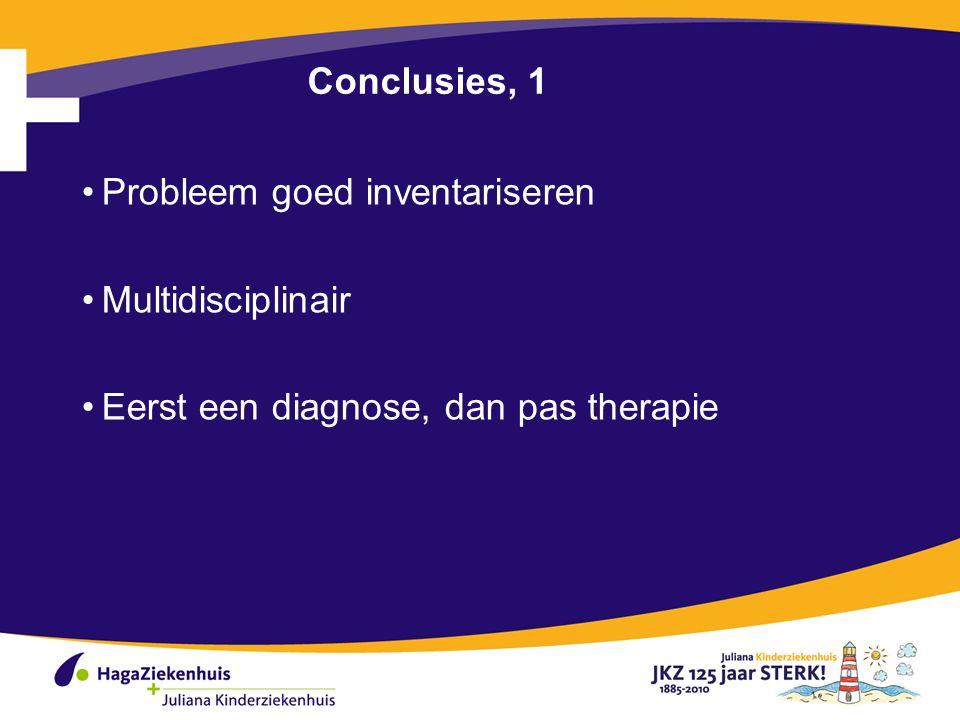 Conclusies, 1 Probleem goed inventariseren Multidisciplinair Eerst een diagnose, dan pas therapie