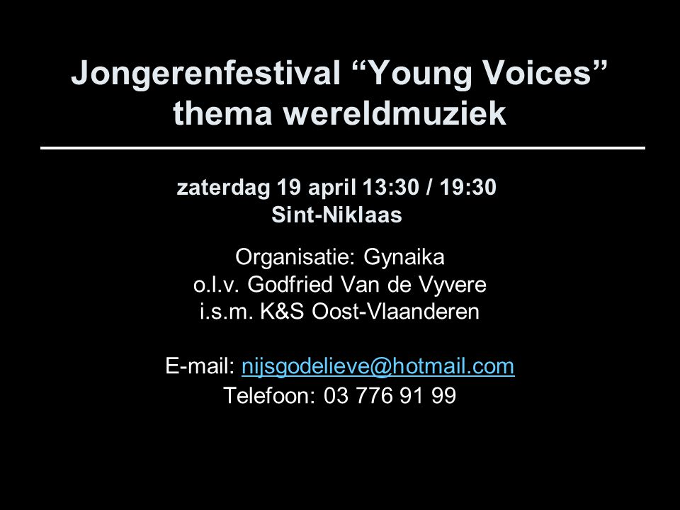 Jongerenfestival Young Voices thema wereldmuziek