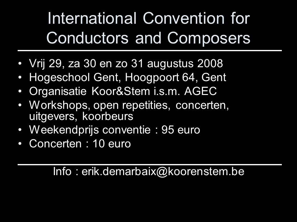 International Convention for Conductors and Composers
