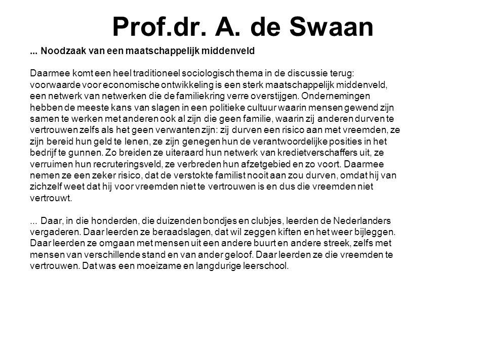 Prof.dr. A. de Swaan ... Noodzaak van een maatschappelijk middenveld