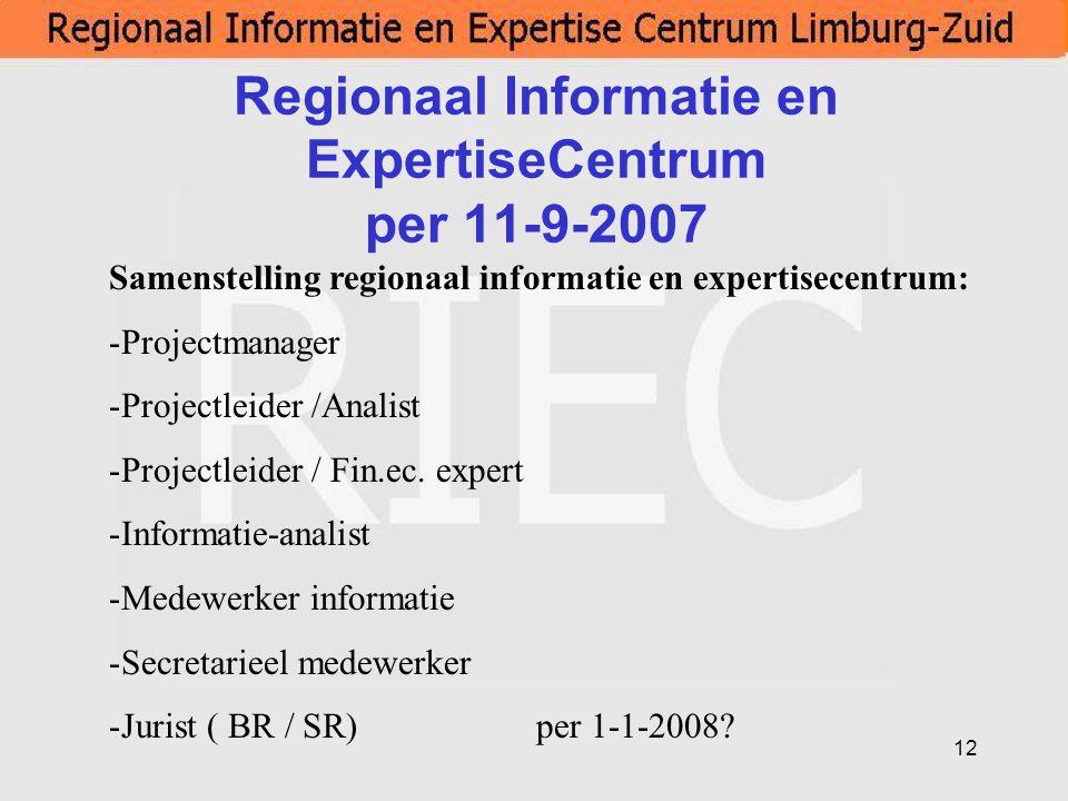 Regionaal Informatie en ExpertiseCentrum per 11-9-2007