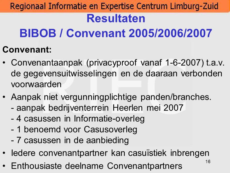 Resultaten BIBOB / Convenant 2005/2006/2007